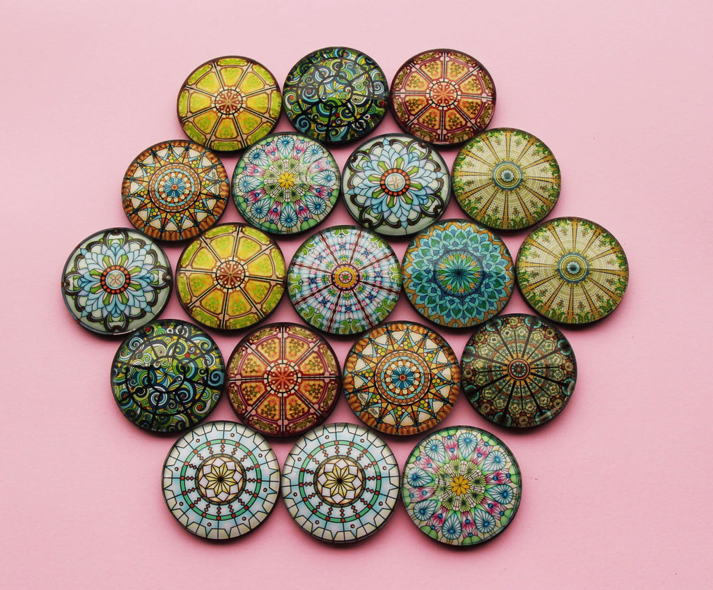 Mandala Yoga Glass Cabochon Fridge Magnets - Party Bag Fillers - Gift for Yogis - Event giveaways 4 magnets for $12.00