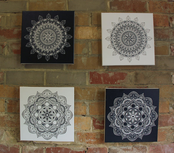 Leaf Mandala White on Black  - 30x30cm square print ***Digital Download Only***