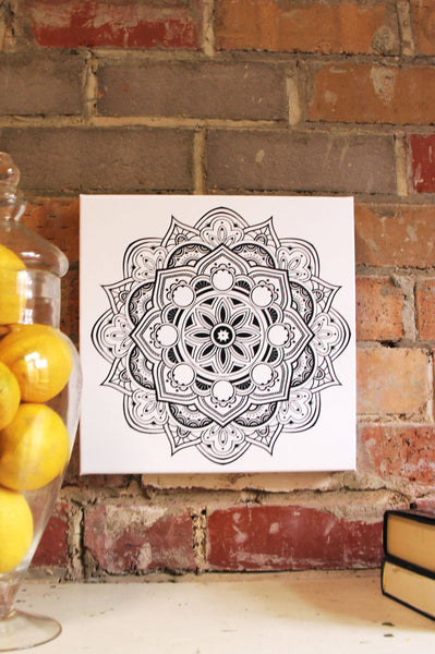 Fruit Mandala Black on White  - 50x50cm square print ***Digital Download Only***