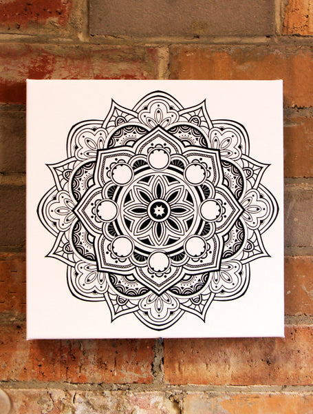 Fruit Mandala Black on White  - 30x30cm square print ***Digital Download Only***