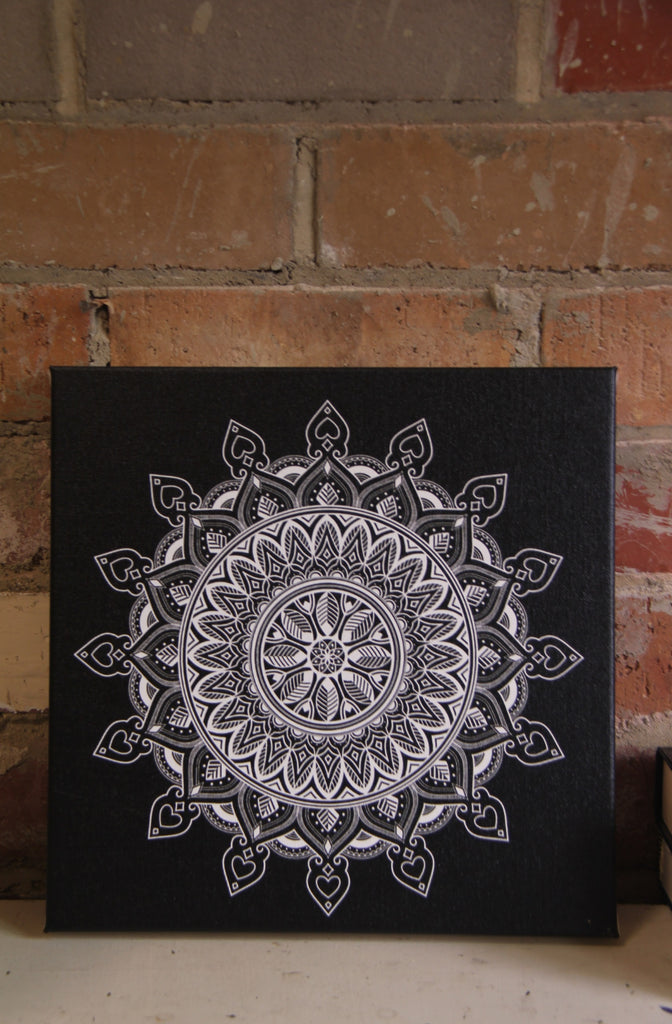 Leaf Mandala White on Black  - 20x20cm square print ***Digital Download Only***