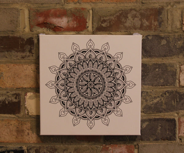 Leaf Mandala Black on White  - 50x50cm square print ***Digital Download Only***