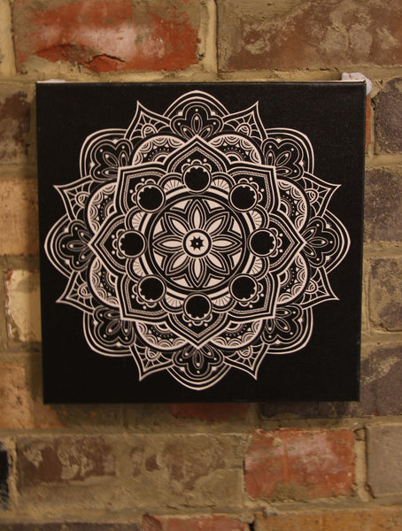 Fruit Mandala White on Black  - 50x50cm square print ***Digital Download Only***