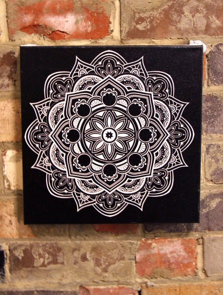 Fruit Mandala White on Black  - 30x30cm square print ***Digital Download Only***
