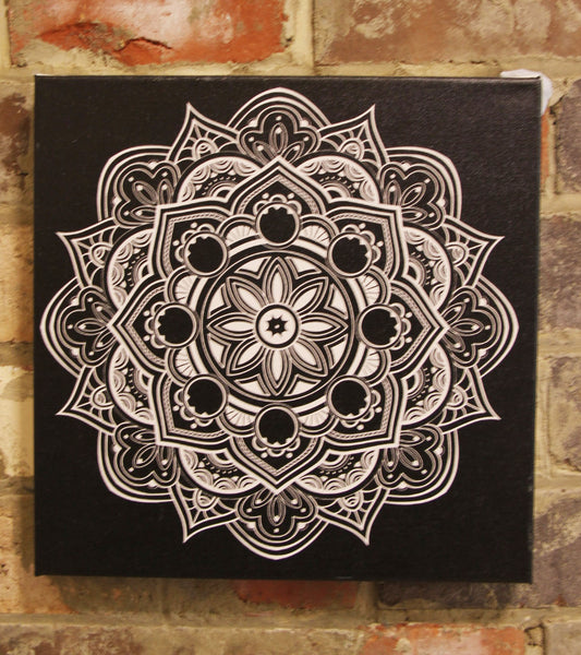 Fruit Mandala White on Black  - 20x20cm square print ***Digital Download Only***