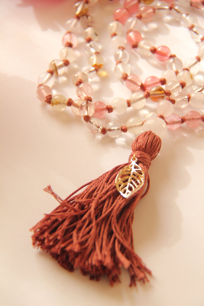 Brown Long Cherry Quartz and Mala Necklace with Cotton tassel