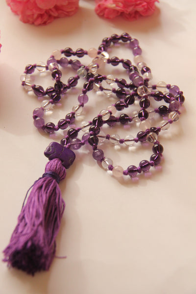 Knotted Long 108 Natural Rainbow Quartz Stone Mala Necklace with Cotton Tassel & Elephant Guru bead