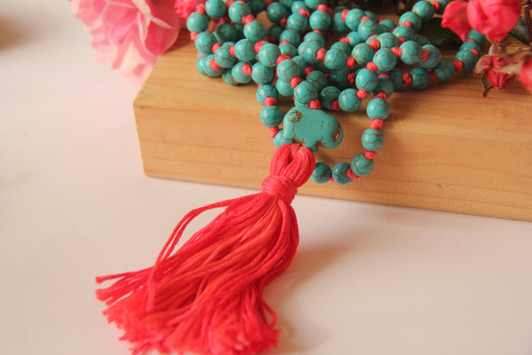 The Blue Turqy - Knotted Long 108 Mala Necklace with Pink Cotton Tassel and Turquoise Beads