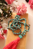 Blue Turqy - Knotted Long 108 Mala Necklace with Cotton Tassel and Real Turquoise Beads