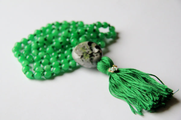 Knotted Long 108 Green Glass Beads Mala necklace with Green Cotton Tassel