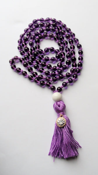 Knotted Long 108 Glass Beads Mala Necklace with Cotton Tassel & Ceramic White Guru bead