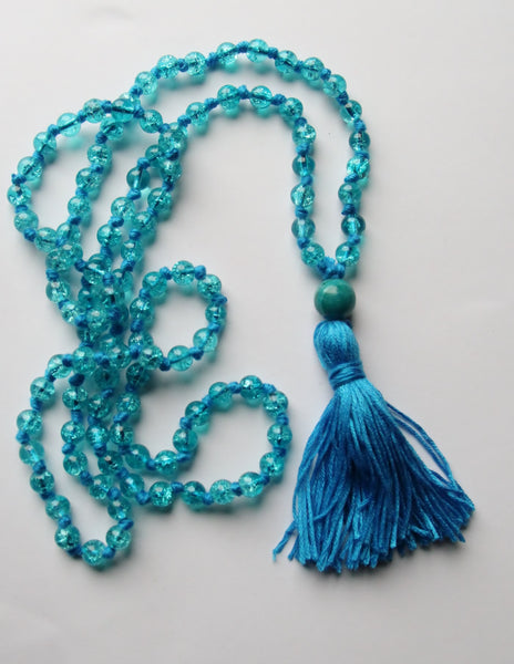 Blue Crackles  - Long Knotted Blue Mala Necklace with Blue Cotton Tassel