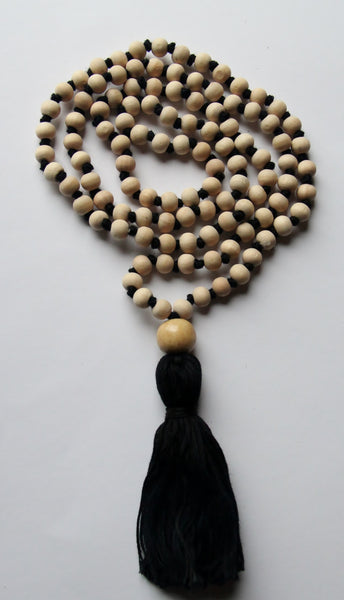 Wood and Cotton  - Long Knotted Wood Mala Necklace with Black Cotton Tassel