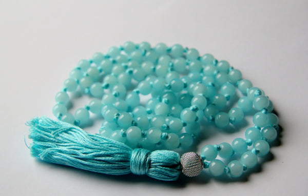 Baby Blue  - Long Knotted Blue 108 Mala Necklace with Blue Cotton Tassel