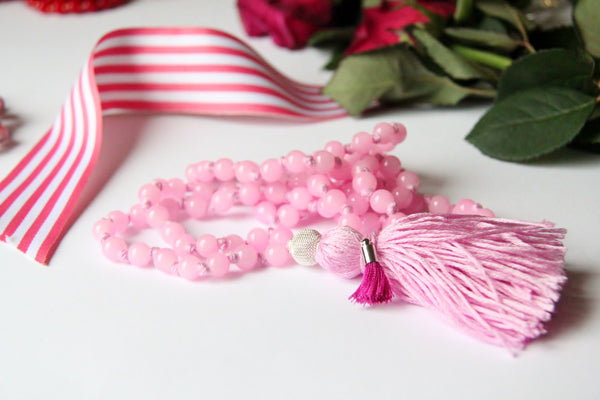 Baby Pink  - Long Knotted Blue 108 Mala Necklace with Pink Cotton Tassel and A small Tassel