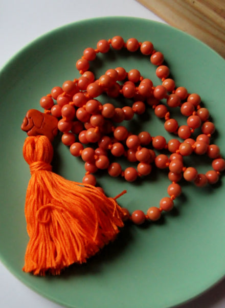 Long Knotted Orange Mala Necklace with Orange Cotton Tassel