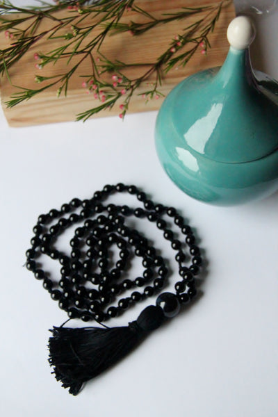 108 Mala - Men's Mala - Long Knotted Mala Necklace With Round Ceramic Guru Bead and Cotton Tassel