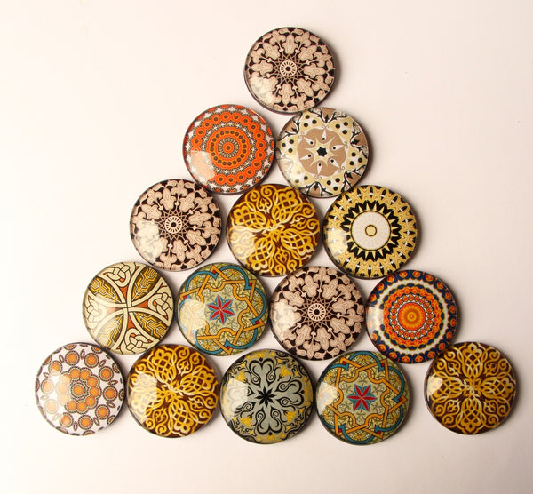 Golden Mandala Yoga Glass Dome 3cm Fridge Magnets - Party Bag Fillers - Gift for Yogis - Event giveaways 6 magnets for $12.00