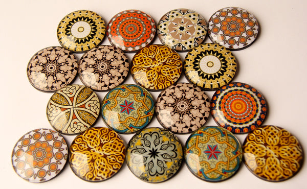 Golden Mandala Yoga 4cm Glass Dome Fridge Magnets - Party Bag Fillers - Gift for Yogis - Event giveaways 4 magnets for $12.00