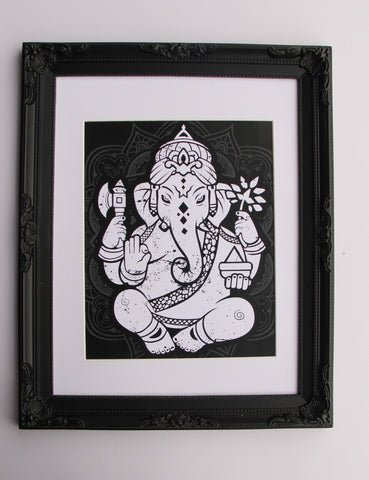 Wall Art - A5 Sized White Ganesha Yoga Studio Decor -Yoga Gift - **Digital Download Only**