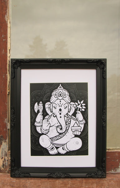 Wall Art - A3 Sized White Ganesha Yoga Studio Decor -Yoga Gift - **Digital Download Only**