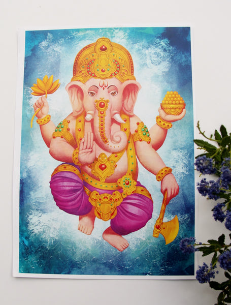 Wall Art - A3 Sized Golden Ganesha Yoga Studio Decor -Yoga Gift - **Digital Download Only**