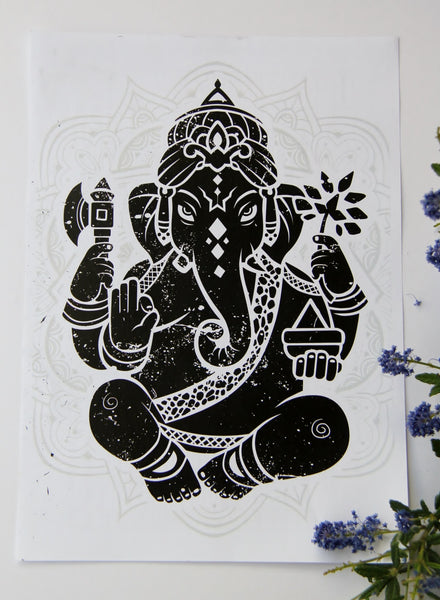 Wall Art - A4 Sized Black Ganesha Yoga Studio Decor -Yoga Gift - **Digital Download Only**