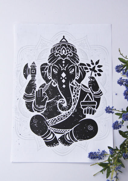 Wall Art - A6 Sized Black Ganesha Yoga Studio Decor -Yoga Gift - **Digital Download Only**