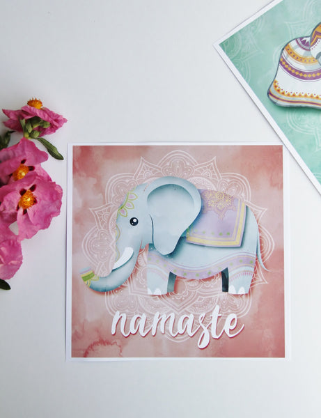 Square Pink Elephant  - 50x50cm square print ***Digital Download Only***