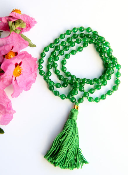 108 Mala - The Aventurines - Long Knotted Mala Necklace