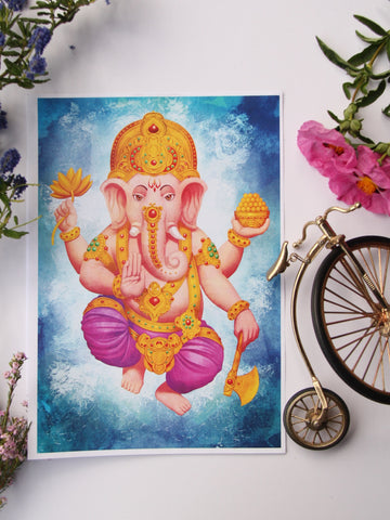 Wall Art - A4 Sized Golden Ganesha Yoga Studio Decor -Yoga Gift - **Digital Download Only**