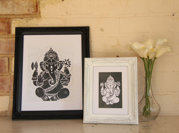 Wall Art - A6 Sized White Ganesha Yoga Studio Decor -Yoga Gift - **Digital Download Only**