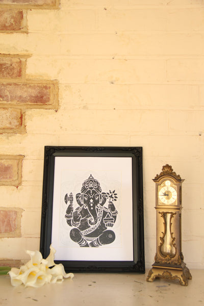 Wall Art - A5 Sized Black Ganesha Yoga Studio Decor -Yoga Gift - **Digital Download Only**