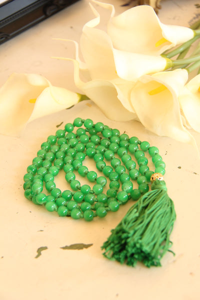 108 Mala Beads - Long Knotted Mala Necklace - Green Envy - Yoga Gift - Meditation Staple
