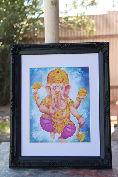 Wall Art - A6 Sized Golden Ganesha Yoga Studio Decor -Yoga Gift - **Digital Download Only**