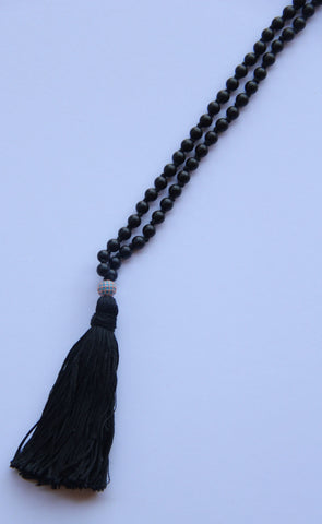 108 Mala - Medium Length Knotted Black Agate Mala Necklace With Zirconia Guru Bead and Cotton Tassel