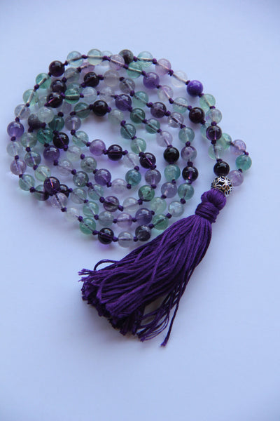 Knotted Long 108 Natural Fluorite Stone Mala Necklace with Cotton Tassel & Silver Flower Guru bead