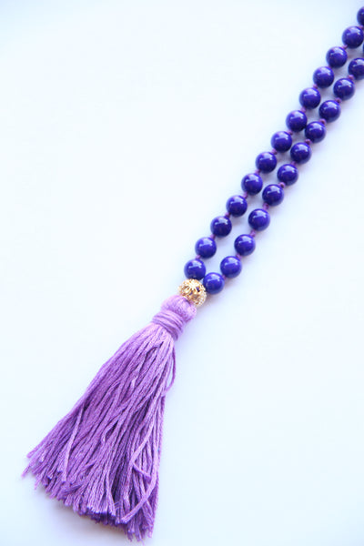 108 Mala Beads - Long Knotted Mala Necklace - Violets and Purples - Yoga Gift