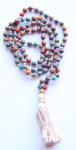 108 Mala Beads - Long Knotted Mala Necklace - Rainbow Malachite - Yoga Gift - Meditation Staple - III
