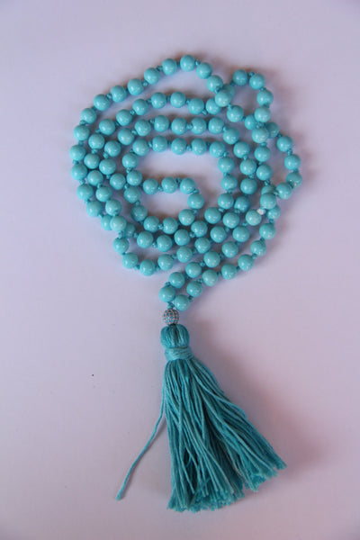 108 Mala Beads - Long Knotted Mala Necklace - Bluer than Blue - Yoga Gift - Meditation Staple