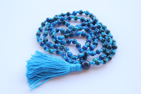 108 Mala Beads - Blue Long Knotted Mala Necklace - Yoga Gift - Meditation Staple