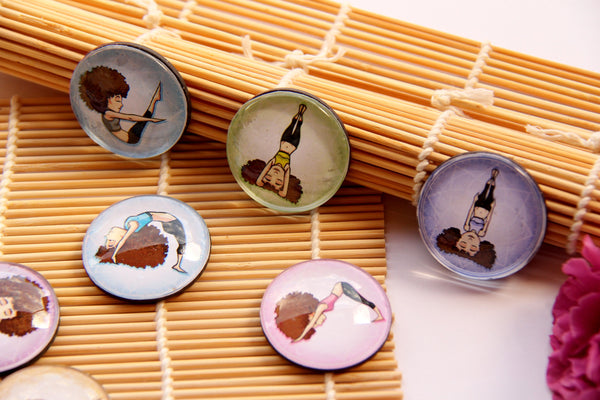Yoga Girl Glass Dome Fridge Magnets - Party Bag Fillers - Gift for Yogis - Event giveaways 4 magnets for $12.00