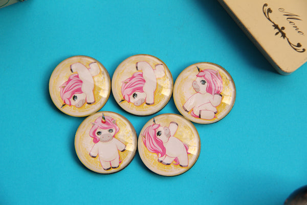 Unicorn Yoga Glass Cabochon Fridge Magnets - Party Bag Fillers - Gift for Yogis - Event giveaways 4 magnets for $12.00