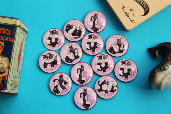 Cat Yoga Glass Cabochon Fridge Magnets - Party Bag Fillers - Gift for Yogis - Event giveaways 4 magnets for $12.00