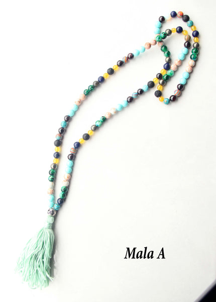 108 Mixed Beads Long Mala Necklace Silver Flower Guru Bead for Yoga & Meditation - Knotfree