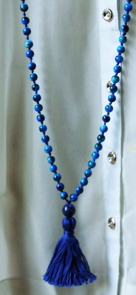 Deep Blue Sea - Long Knotted Blue Mala Necklace with Blue Cotton Tassel
