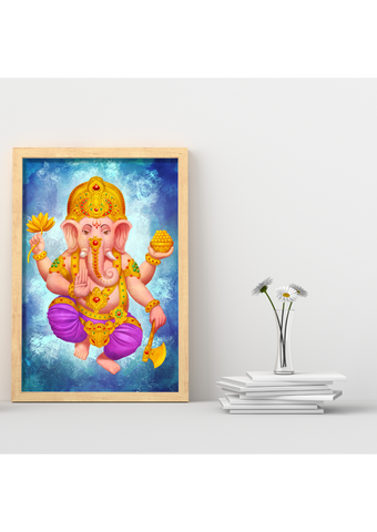 A5 Sized Colorful Golden Ganesha Yoga Studio Decor -Yoga Gift - **Digital Download Only**