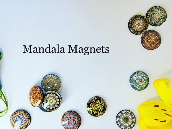 Traditional Mandala Yoga Glass Refrigerator Magnets - Yoga giveaways 4 magnets for $12.00