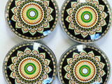 Traditional Mandala Yoga Glass Refrigerator Magnets - Yoga giveaways 4 magnets for $14.00