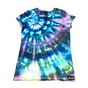 Youth Large, Girls Fitted Hanes T, Size 10-12, Ice Dyed-- Tie Dyed T Shirt